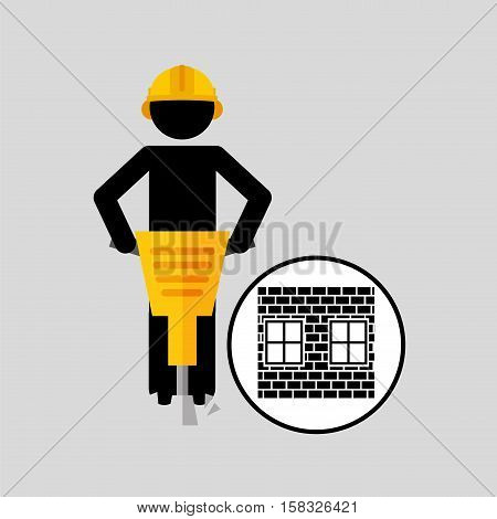 construction brick worker jackhammer graphic vector illustration eps 10