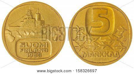 5 Markkaa 1983 Coin Isolated On White Background, Finland