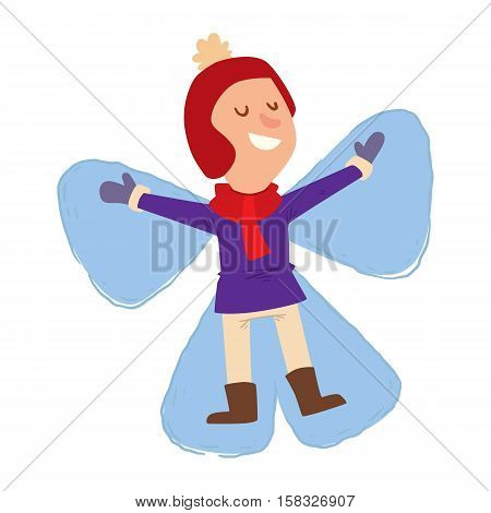 Christmas kid playing winter games. girl princess in snow. Cartoon New Year winter holidays background.