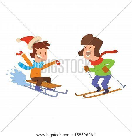 Christmas kids playing winter games. skiing, sledding. Cartoon New Year winter holidays background.