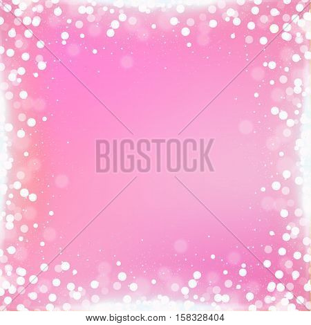 Gradient Pink Square Background With Bokeh Border