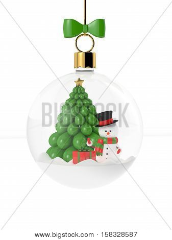 3d rendering of snowman in a glass christmas bauble over white. Christmas concept.