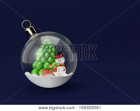 3d rendering of snowman in a glass christmas bauble. Christmas concept.