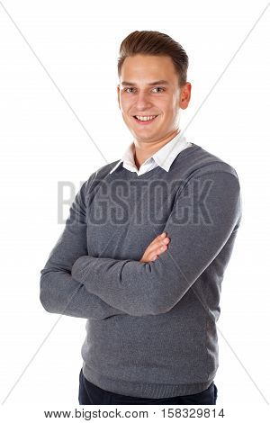 A successful businessman standing on isolated background