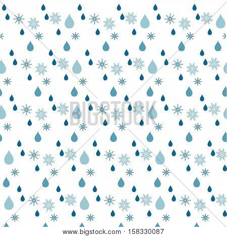Seamless blue rein drop and snow flakes pattern on white, stock vector illustration