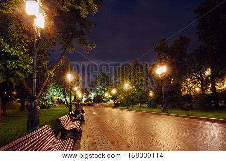 Alley Alexander Garden. Night