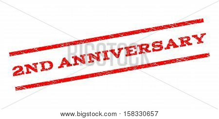 2Nd Anniversary watermark stamp. Text caption between parallel lines with grunge design style. Rubber seal stamp with scratched texture. Vector red color ink imprint on a white background.