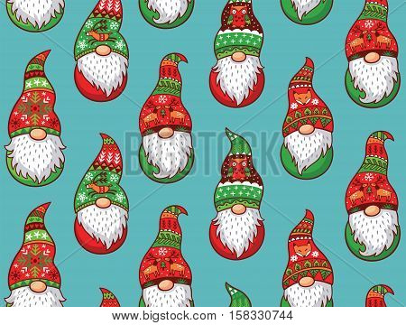 Christmas gnomes in red and green hat with different ornaments isolated on blue background. Vector seamless pattern of Scandinavian christmas traditional gnomes