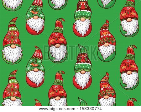 Christmas gnomes in red and green hat with different ornaments isolated on green background. Vector seamless pattern of Scandinavian christmas traditional gnomes