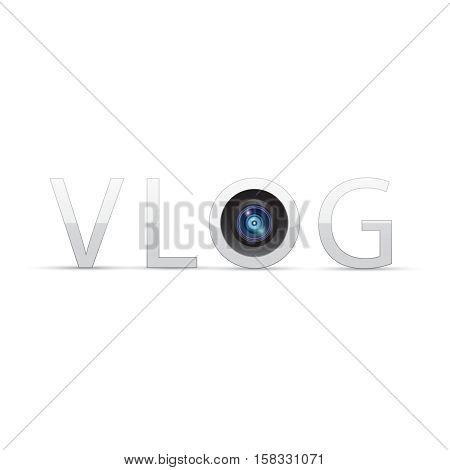 Vlog concept. Vlog logo. Vector illustration eps 10