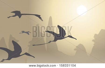 Silhouette of pterodactyl beautiful landscape illustration collection