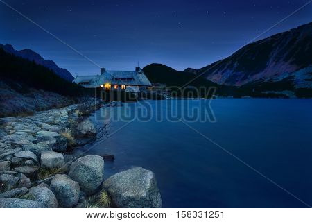 Refuge at night in five lake valley in Tatra mountain