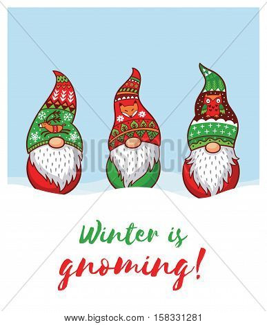Winter is Gnoming. Happy Holidays card with trolls gnomes. Cute cartoon vector illustration. Christmas characters