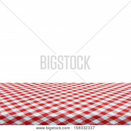 Empty table and red tablecloth isolated on white background - use for your photomontage or product display