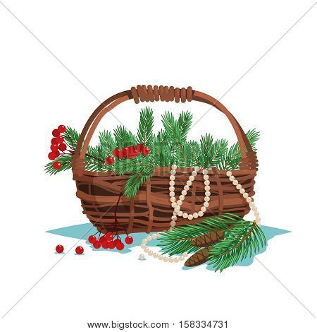 Set of basket of fir branches berries and cones isolated on white background. Vector stock illustration.