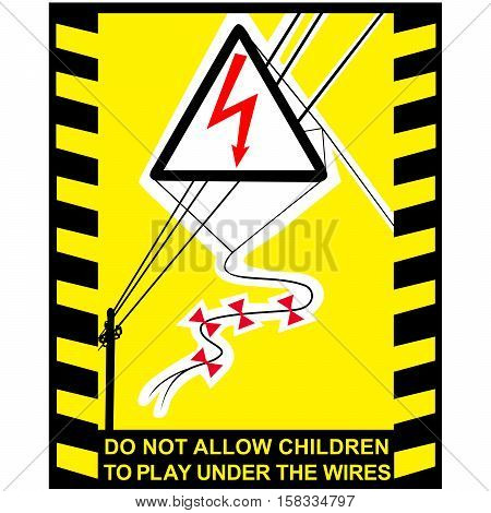 Danger High Voltage signs banner with warning text (do not allow children to under the wires)