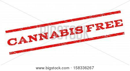 Cannabis Free watermark stamp. Text caption between parallel lines with grunge design style. Rubber seal stamp with dust texture. Vector red color ink imprint on a white background.