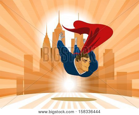 Superhero flies low over the earth on the city background
