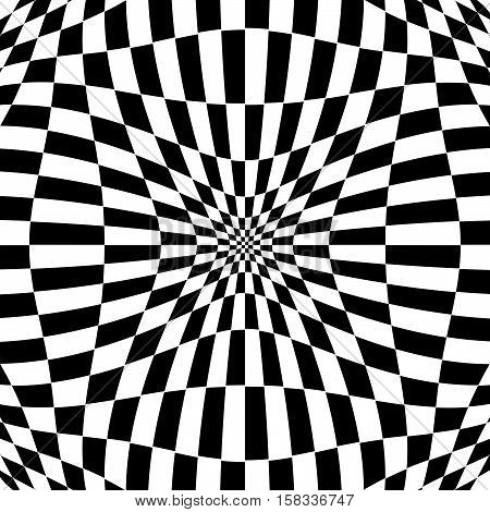 Checkered Pattern With Distortion Effect. Deformed, Irregular Chessboard, Checkerboard Background.