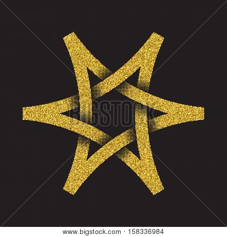Golden glittering logo in Celtic style on black background. Tribal symbol in six pointed star form. Gold stamp for jewelry design.