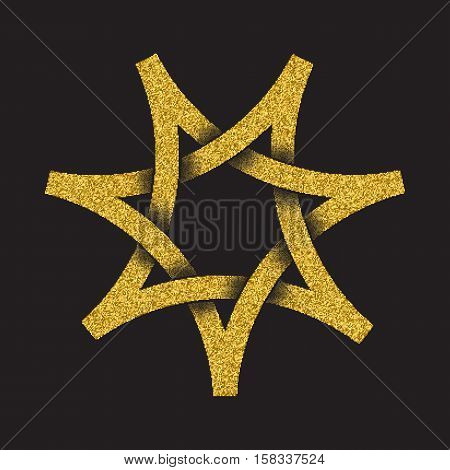 Golden glittering logo in Celtic style on black background. Tribal symbol in seven pointed star form. Gold stamp for jewelry design.