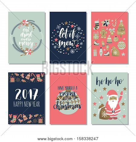 Vector set of hand drawn of Christmas greeting cards. Great print for invitations, posters, tags. Let it snow. Happy New Year. Festive banners in flat cartoon style, vintage colors