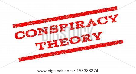 Conspiracy Theory watermark stamp. Text caption between parallel lines with grunge design style. Rubber seal stamp with dirty texture. Vector red color ink imprint on a white background.