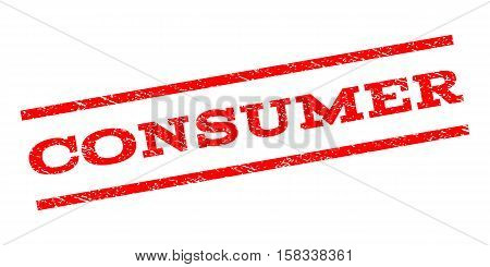 Consumer watermark stamp. Text tag between parallel lines with grunge design style. Rubber seal stamp with unclean texture. Vector red color ink imprint on a white background.