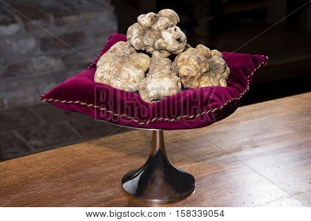 Some White Truffles On A Red Pillow