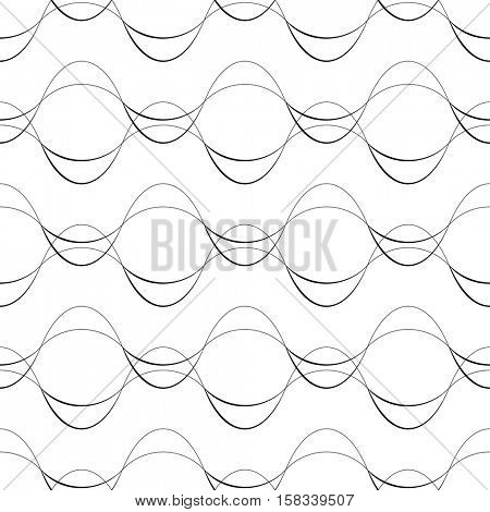 Seamless Curved Line Pattern. Vector Elegant Background. Minimal Decorative Wallpaper. Abstract Damask Graphic Design