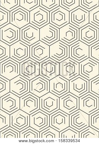 Seamless Hexagon Pattern. Vector Monochrome Chaotic Background. Abstract Web Line Wallpaper. Minimalistic Fashion Design
