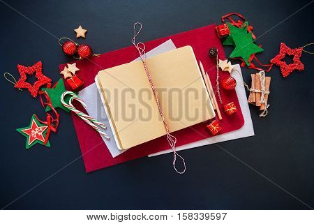 Merry Christmas Card Notebook Message Holiday