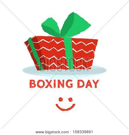 Boxing day design with red gift box on white background. Vector illustration for banner poster and flyer. Boxing day greeting card