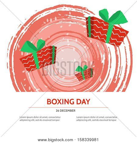 Boxing day design with red gift box on textured background . Vector illustration for banner poster and flyer. Boxing day template