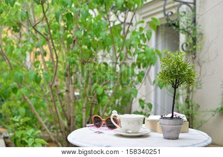 Table with a fine porcelain cup and woman's personal belongings in an elegant garden