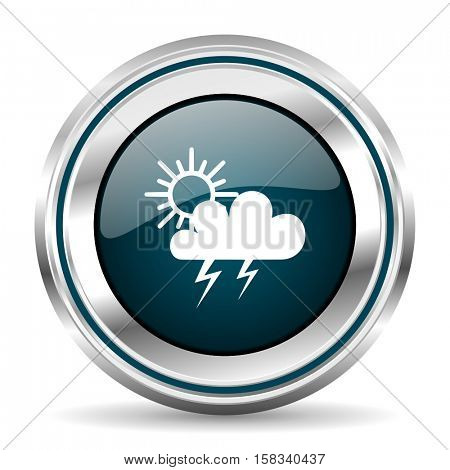 Weather forecast vector icon. Chrome border round web button. Silver metallic pushbutton.