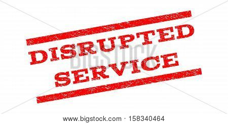Disrupted Service watermark stamp. Text tag between parallel lines with grunge design style. Rubber seal stamp with unclean texture. Vector red color ink imprint on a white background.