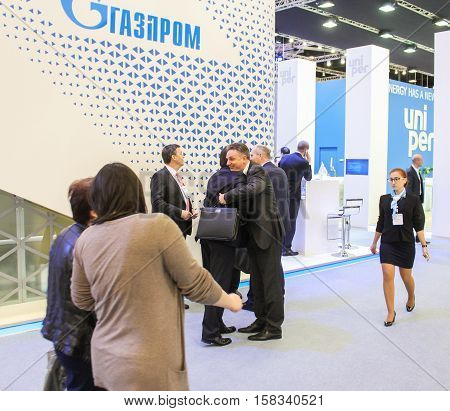 St. Petersburg, Russia - 5 October, Meeting of business people on the forum, 5 October, 2016. Petersburg Gas Forum which takes place in Expoforum.