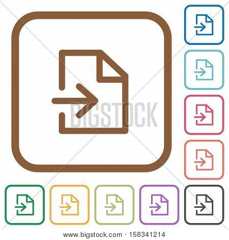 Import simple icons in color rounded square frames on white background