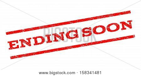 Ending Soon watermark stamp. Text tag between parallel lines with grunge design style. Rubber seal stamp with unclean texture. Vector red color ink imprint on a white background.