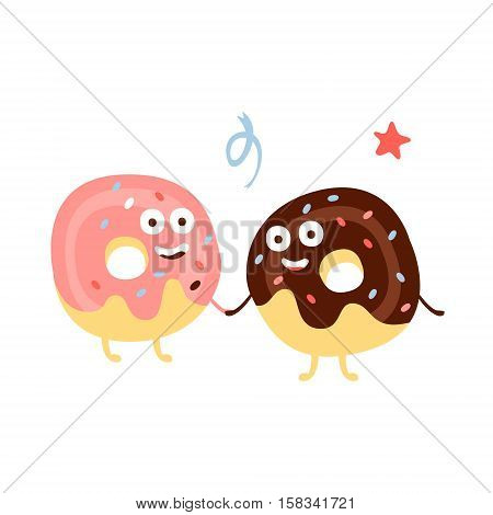 Two Doughnuts Holding Hands Children Birthday Party Attribute Cartoon Happy Humanized Character In Girly Colors. Kids Celebration Related Object With Smiling Face Flat Vector Illustration.