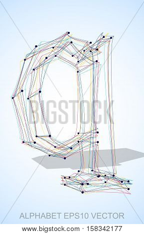 Abstract illustration of a Multicolor sketched lowercase letter Q with Transparent Shadow. Hand drawn 3D Q for your design. EPS 10 vector illustration.