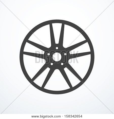 Vector alloy wheel icon. Rim icon. Vector illustration eps 10