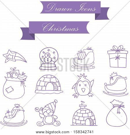 Vector of Christmas icons collection stock illustration