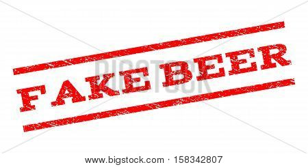 Fake Beer watermark stamp. Text caption between parallel lines with grunge design style. Rubber seal stamp with dirty texture. Vector red color ink imprint on a white background.