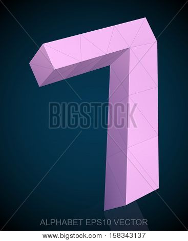 Abstract Pink 3D polygonal number 7 with reflection. Low poly alphabet collection. EPS 10 vector illustration.