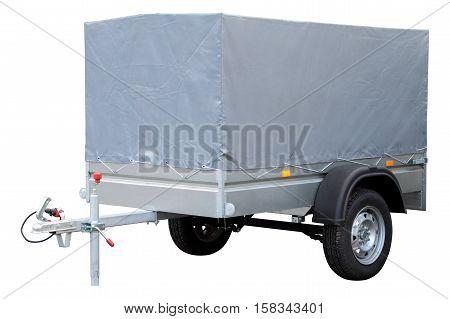 Grey car trailer isolated on white background.