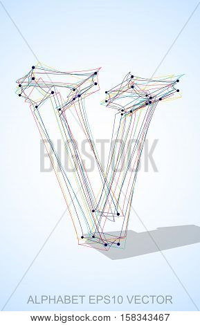 Abstract illustration of a Multicolor sketched lowercase letter V with Transparent Shadow. Hand drawn 3D V for your design. EPS 10 vector illustration.