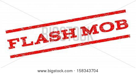 Flash Mob watermark stamp. Text tag between parallel lines with grunge design style. Rubber seal stamp with unclean texture. Vector red color ink imprint on a white background.