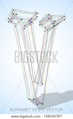Abstract illustration of a Multicolor sketched uppercase letter V with Transparent Shadow. Hand drawn 3D V for your design. EPS 10 vector illustration.
